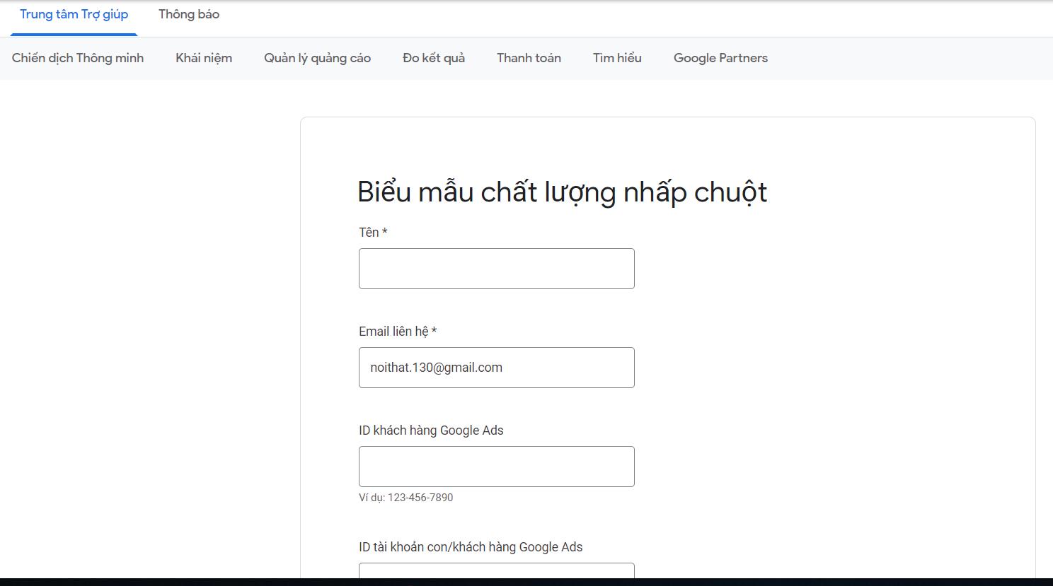 biểu mẫu đòi tiền google ads