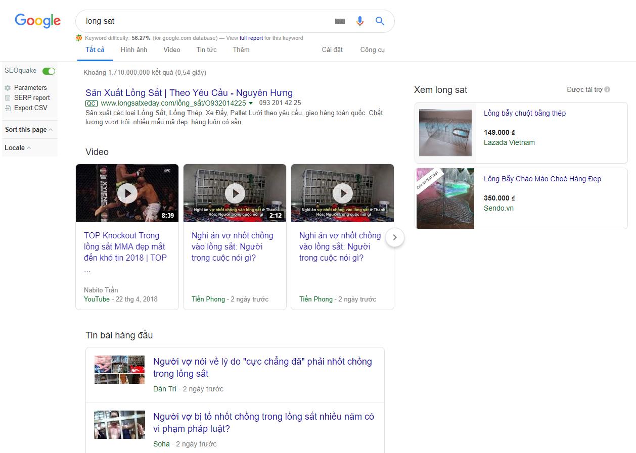 chưởng môn long sắt trên google tìm kiếm