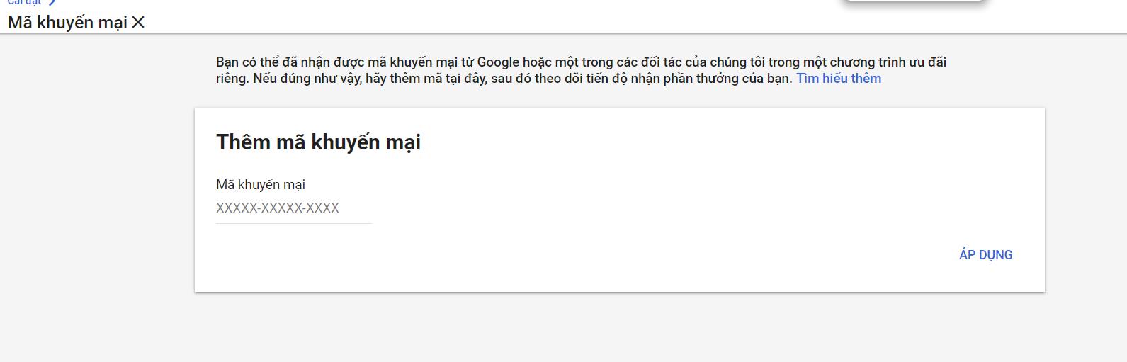 nơi thêm mã khuyến mại google ads