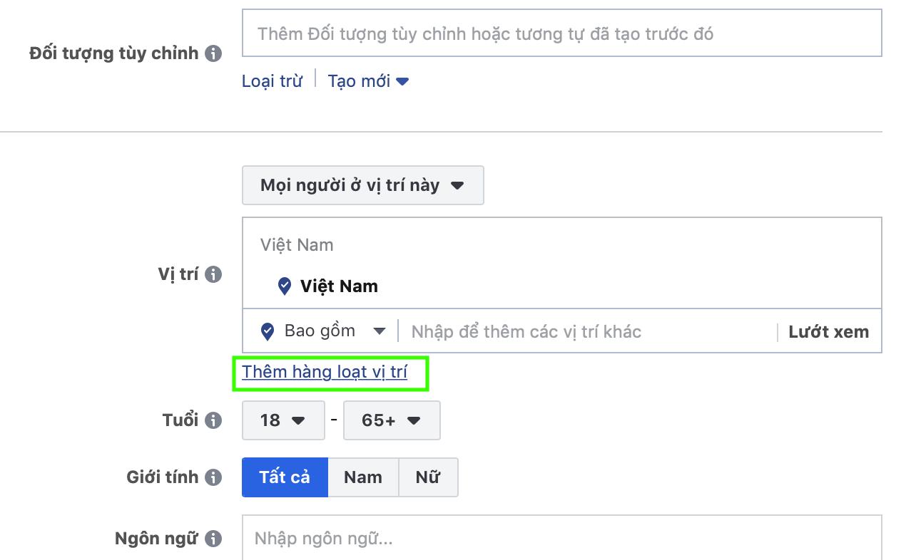 cách thêm hàng loạt vị trí trên facebook ads