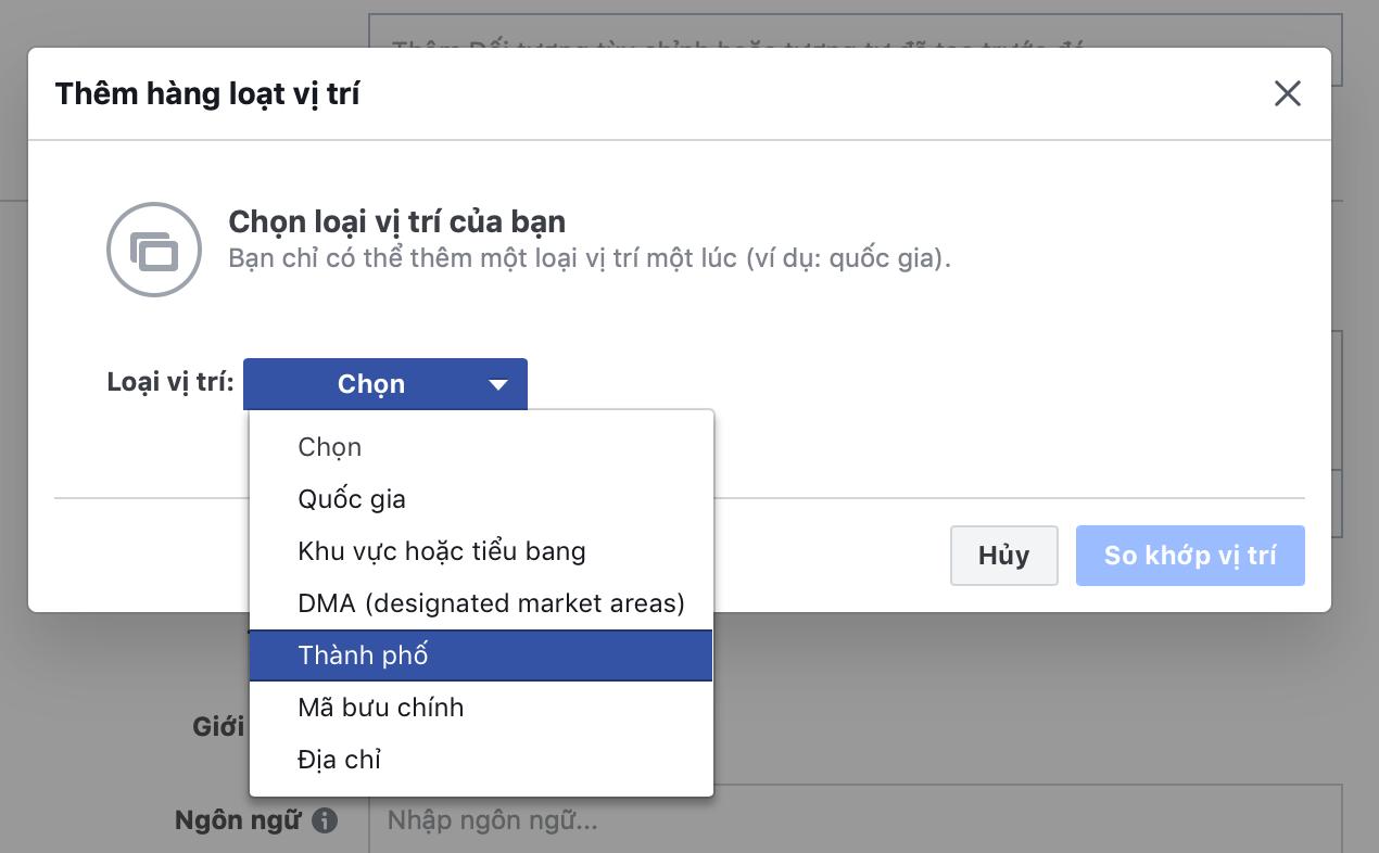 hướng dẫn loại vị trí target trên facebook ads