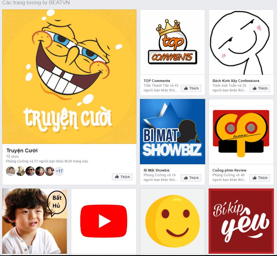 tìm fanpage tương tự trên facebook