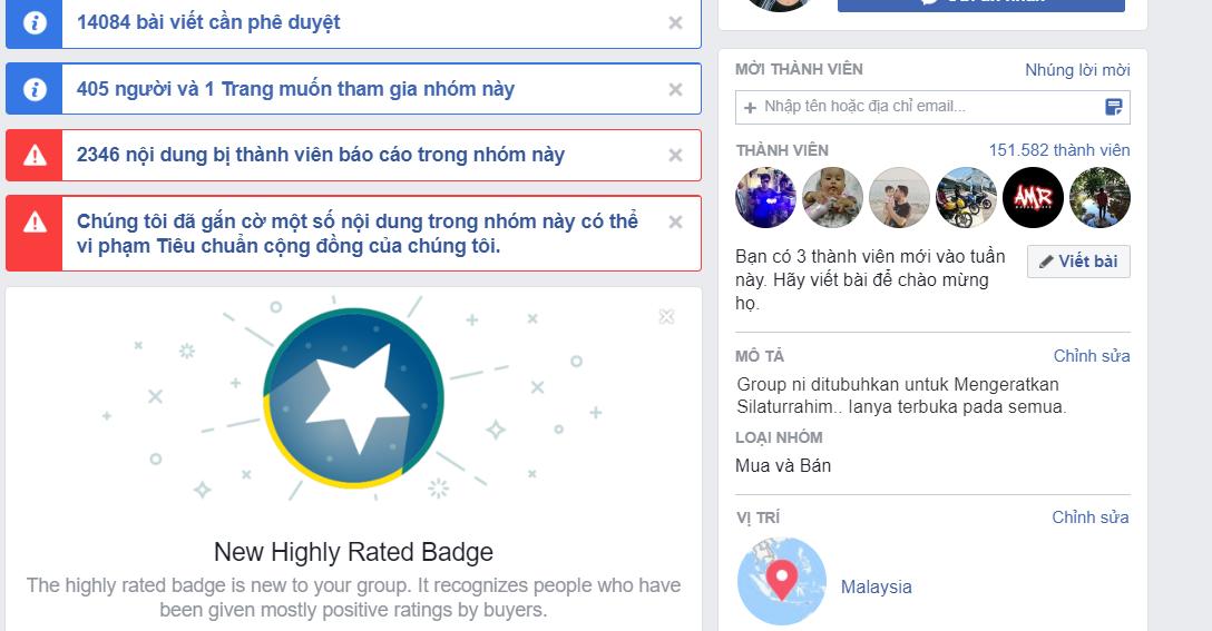 điểm trải nghiệm của group facebook