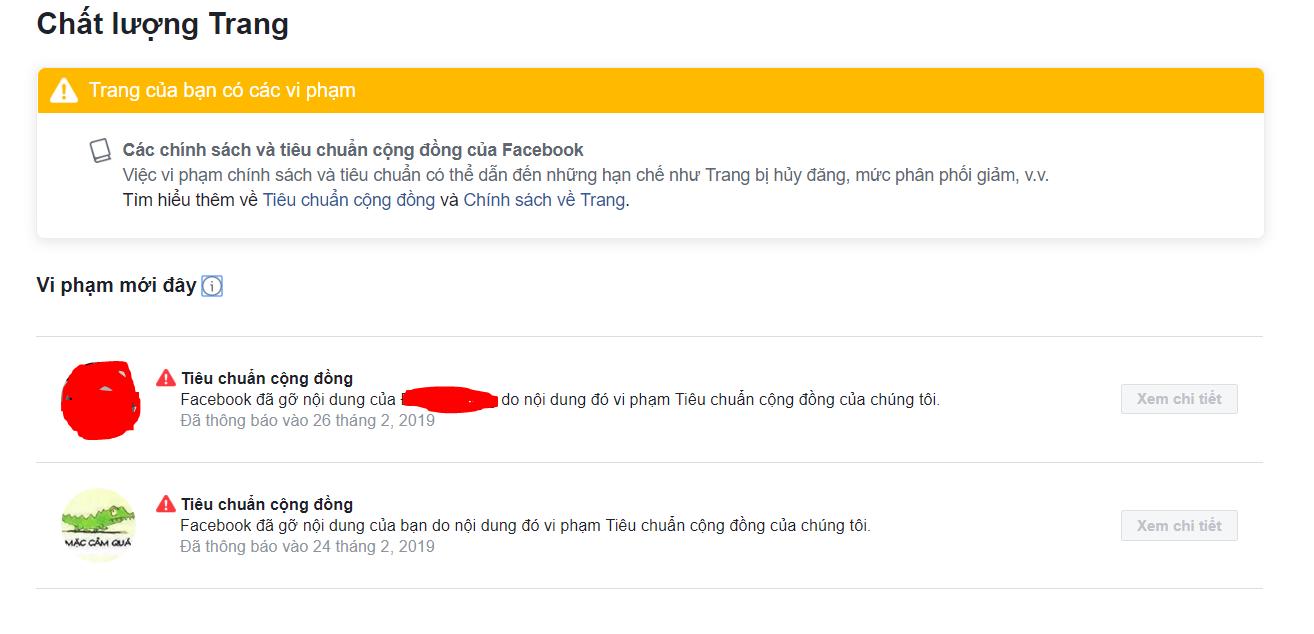 chất lượng trang trên facebook
