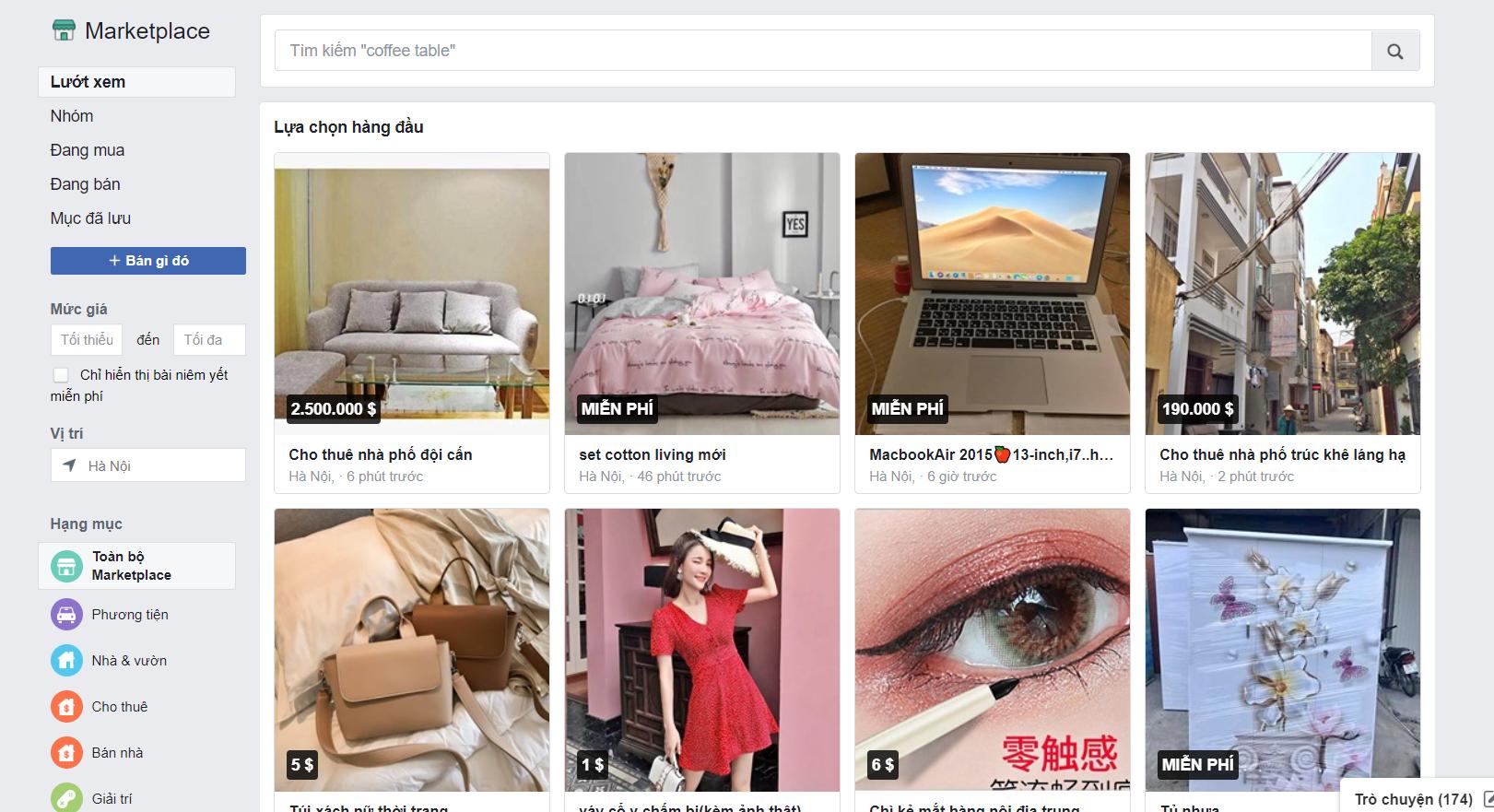 giao diện marketplace bán hàng trên facebook
